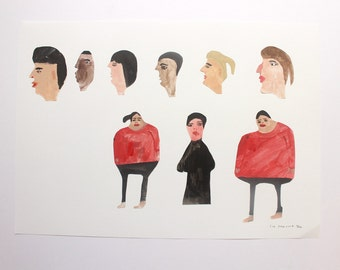 A Family - Original Faye Moorhouse collage painting illustration
