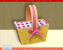 Picnic Basket Favor / cute DIY party basket / Instant Download printable PDF #P-45-favor box