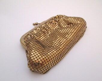 Metallic Purse, Vintage Gold Mesh Bag, gold coin purse, mesh Clutch, Whiting and Davis mesh purse, chain mail purse, gold metal bag