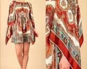 ViNtAgE 60's Art Nouveau Angelwing Gypsy Scarf Smocked MoD MiNi Dress Small/Medium s/m