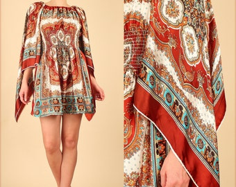 ViNtAgE 60's Art Nouveau Angelwing Gypsy Scarf Smocked MoD MiNi Dress Small/Medium s/m