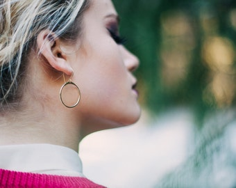 Gold Hoop Earrings , Everyday Circle Minimalist Jewelry in 14k Gold Fill , Sterling Silver , Rose Gold , Rustic Fashion - Rim
