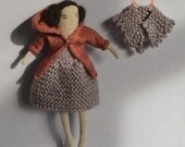 Lilac - A knitted art doll - with coat and shawl