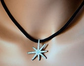Silver Rhinestone Starburst Pendant on Black 19 inch Parachute Cord Necklace, Necklace with Star Pendant, Crystal Silver Star