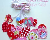 Pink Hearts Garland, Valentine's Day, Bridal Shower or Nursery decor, double-sided fabric