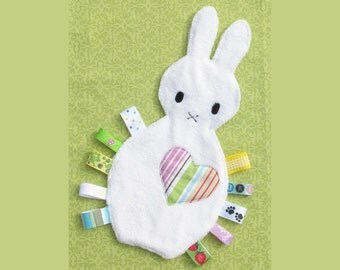 Bunny Tag Blanket/ Lovey Toy- Free U.S. shipping