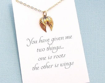 Gift for Mother | Angel Wing Necklace, Mom Gift, Gift Ideas for Mom, Mothers Day, Gift for Mom, Boho Mom | Gold or Silver | M09