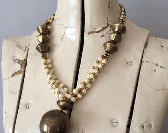 1970's Large Ethnic Bohemian Statement necklace with Brass Beads and Carved Flower Bead Strands