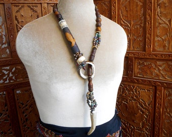 Wild Deer Woman Lariat one of a kind antler, earth colors, handmade by designer