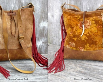 The Rustic Victorian Leather and Velvet Cross Body Fringe Bag by Stacy Leigh