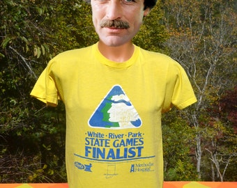 vintage t-shirt 80s white river STATE GAMES indiana olympics tee Medium Large yellow soft thin