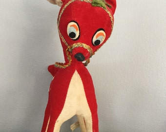 Vintage Red Velvet Deer Made in Japan