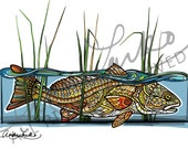 Zentangle Redfish in the Reeds Laminated 3M Decal