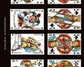 Black playing cards Digital Collage Sheet paper vintage images download Graphics No.109