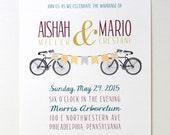 Bike and Banner Invitations, Bicycle Wedding, Bike Wedding, Custom Invites, Cycling Invitations, Etsy Weddings, wedding invites
