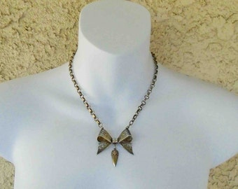 Vintage Mid Century Sterling Silver Etched Gift Bow Necklace / Forties Sterling Silver on Short Chain