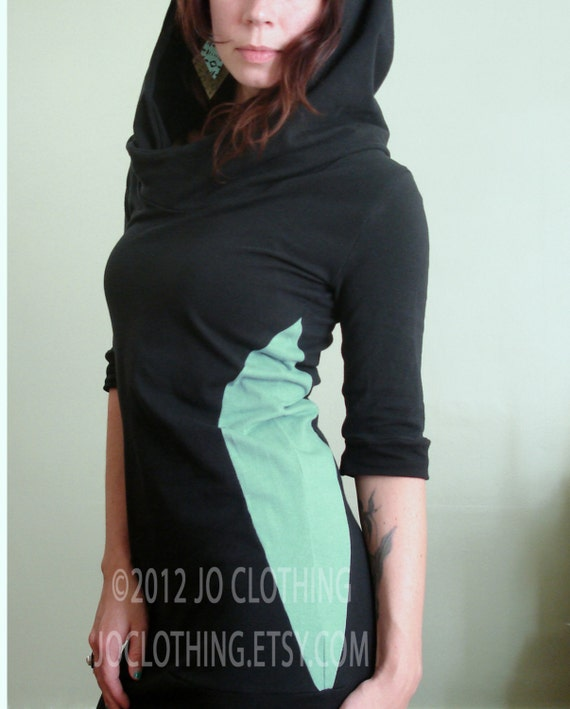 half sleeved hooded tunic dress Black/Mint color block sides