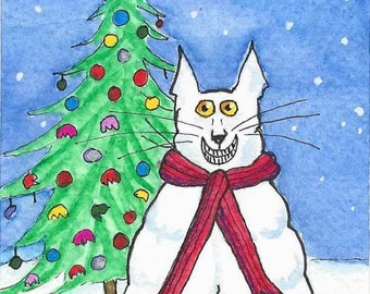 ACEO Original Art Funny Cat Christmas Tree Watercolor Ink Markers
