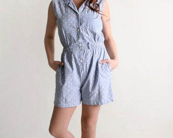 Vintage Polka Dot Denim Romper - 1980s Playsuit - Medium