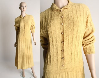 Vintage 1940s Boucle Dress - Mustard Yellow Knit Dress with Wooden Buttons - Large
