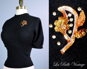 Vintage 1950s Black Fuzzy Pinup Sweater Top ~ Sequined Pullover