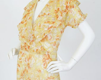 1920's - 1930's Vintage Antique Cotton Floral Ruffle Collar Garden Day Dress Sz S