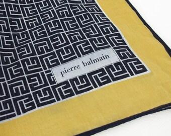 Pierre Balmain 1970's Vintage Logo Cotton Mod Square French Designer Scarf