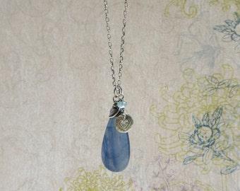 Kyanite Necklace, Aqua Blue Apatite, Teardrop Pendant, Stamped Heart Charm, Oxidized Sterling Silver