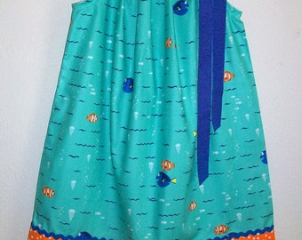 Girls Dress with Dory and Nemo Pillowcase Dress Finding Dory Dress with Fish Turquoise Dress Under the Sea Party baby dress toddler dress
