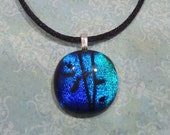 Blue Dichroic Pendant, Small Necklace, Sparkly Jewelry - Sleek Silver - Kimerly -5