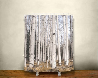 birch trees shower curtain rustic bathroom decor forest shower curtain dreamy nature decor