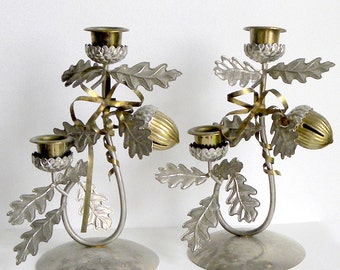 Candle Holders Pair Christmas Winter Fall
