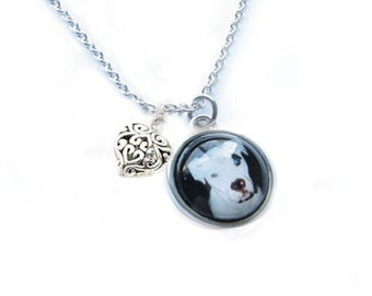 Dog Lovers Necklace, Glass Pendant Photo Charm, Memorial Animal Gift, Pet lovers necklace