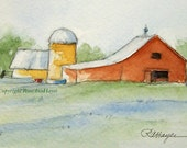 Red Barn and Silo Original Watercolor Painting Landscape