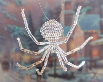 Silver Beaded Spider Ornament