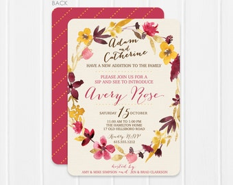 Floral Baby Sip and See Invitation - Dried Flower Wreath - Watercolor Baby Shower invitation - Watercolor Flower Baby Shower -