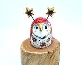 Ruby Red Fairy Owl Ceramic Sculpture