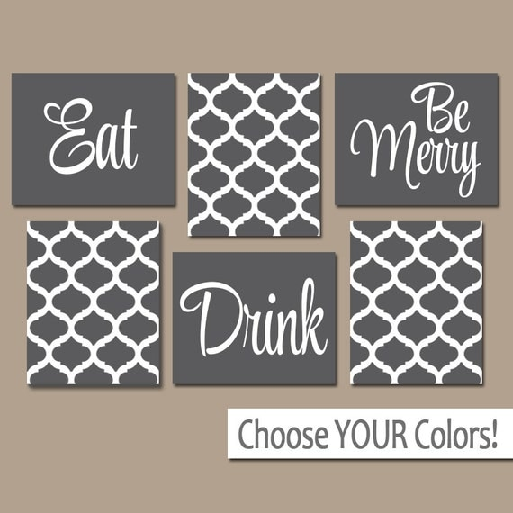 Eat drink be merry canvas or prints gray kitchen wall art for Art prints for kitchen wall