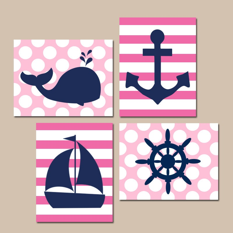 GIRL NAUTICAL Wall Art Ocean BATHROOM Artwork Navy Pink Baby