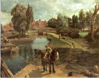 Vintage Greeting Card Flatford Mill on the River Stour Reproduction of an Oil Painting by John Constable (1776 - 1837)