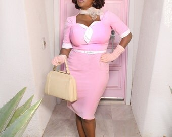 In stock pink pinup girl dress Gwen rockabilly clothing recycled idea from 1940s