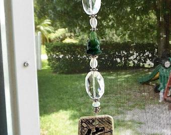 Buddha Ceramic Suncatcher - Dark Green - OOAK