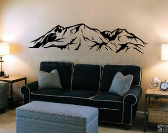 Mountains Range Wall Decal - Hills Vinyl Wall Art Home Decor Sticker - Nature Scene - Black or choose color - K387K