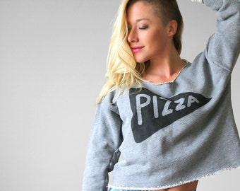 Slouchy Womens Pizza Party Crop Top Sweatshirt, back to school shirt, teen gift, off shoulder, college kid pizza lover gift for women