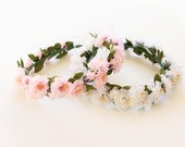Flower girl crown (Pink or White) Floral rose wreath, Bridal flower crown, Flowergirl headpiece