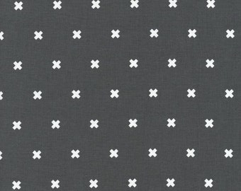 Cotton + Steel XOXO #2 Pencil Cotton and Steel Basics 100% Cotton Fabric Charcoal Gray