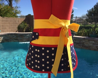 Wonder Woman Inspired Sassy Half Apron, Vendor Apron with 6/8 pockets, great for Gardening,Teachers, Womens Regular,  Plus Sizes, Patriotic
