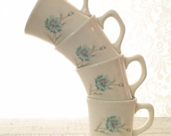 Ever Yours Boutonniere , 4, Coffee mugs, Mid Century, Taylor Smith, THICK Coffee Cup, 1950s mug, Replacement, TST, P handle