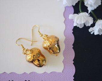 Gold Acorn Earrings, Gold Real Acorns, Gold Acorns, Acorns, Copper Acorn, Yellow Acorn, Nature, Orangic, AC14
