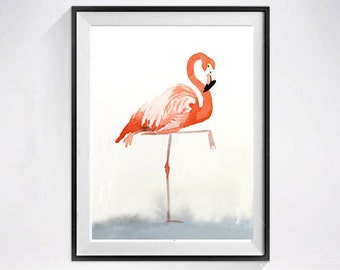 Valentine Bird art - Watercolor Print / Pink flamingo painting / Nature art / Zoo animal Coral / Wall art / Kid's room nursery / Bird